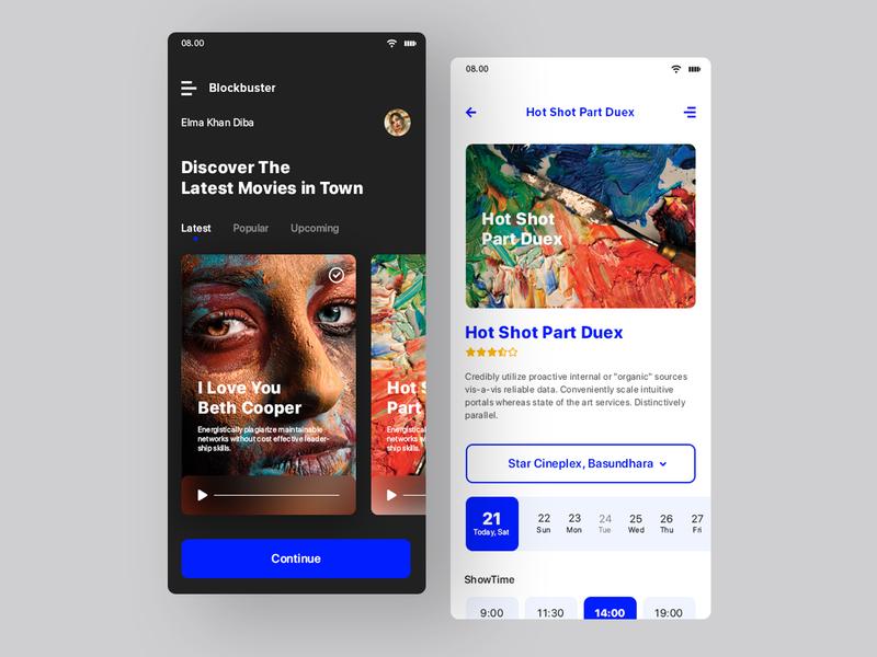 Movie Ticket colors color app  design app concept app pixorus nayeem typography ux apps apps design design ux design clean minimal flat concept ui