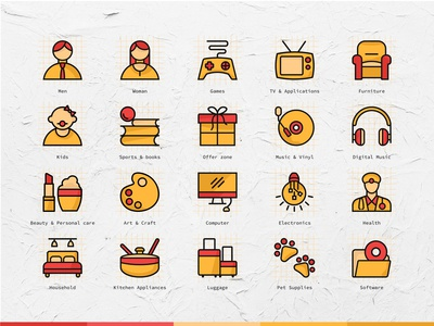 Coloured icons for e commerce