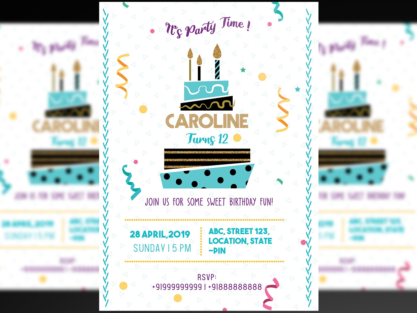 Birthday Party Invitation PSD Flyer+ Social media Post by