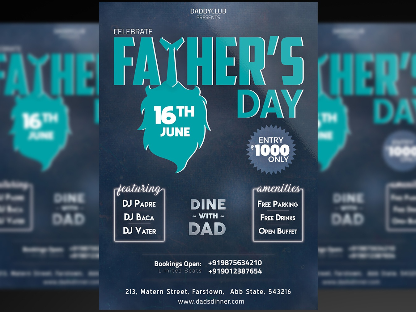 Father's Day Flyer + Social Media Free PSD Template by