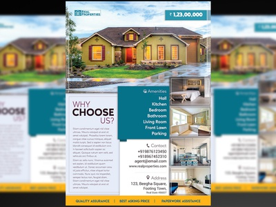 Real Estate Flyer + Social Media Free PSD Template