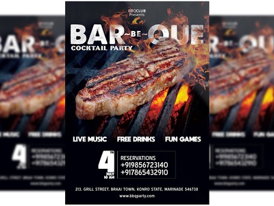 Barbeque Party Flyer + Social Media PSD Template