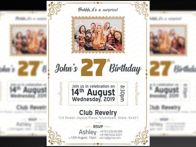 Birthday Invitation Flyer + Social Media Free PSD Template