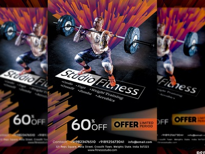 Gym Fitness Flyer + Social Media Free PSD Template