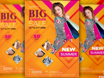 Fashion Sale Flyer + Social Media Free PSD Template