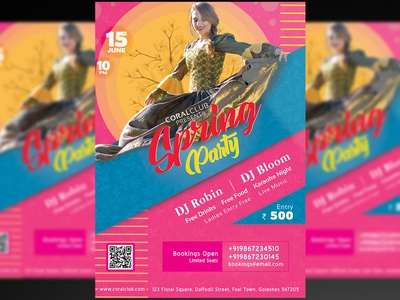 Spring Party Flyer + Social Media Free PSD Template