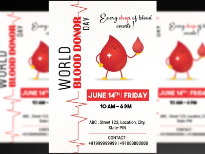 World Blood Donor Day Flyer + Social Media Post PSD