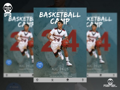 Basketball Camp Flyer Free PSD Template