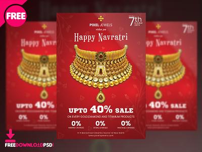 Navratri Sale Flyer Free PSD flyer design design free psd psd flyer sale jewellery navratri