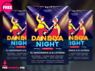 Dandiya Night Flyer Free PSD free psd flyer design navratri flyer party dandiya night dandiya