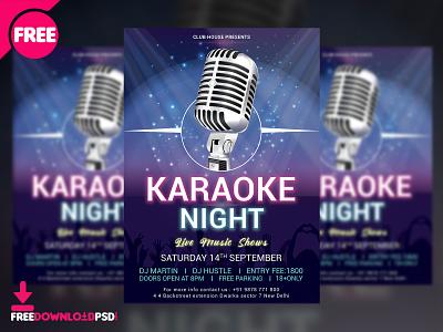 Karaoke Night Flyer Free PSD karaoke night flyer free psd free flyer design design flyer sing along karake night karoke