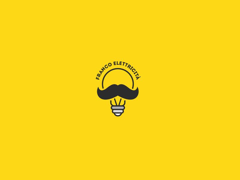 Franco Elettricità mustache yellow lamp light illustration art typography mark logotype logotipo logodesign font minimal design branding logo brand