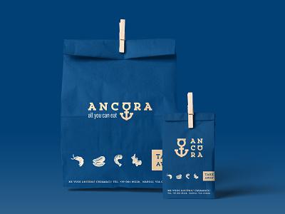 Ancòra take away paperbag food seafood packaging stationery corporate identity brandidentity mockup typography logotype font minimal mark logodesign design branding logo brand