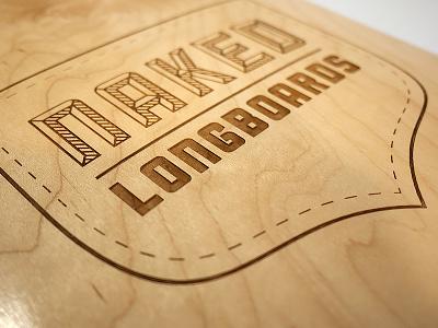 Laser-etched longboard logo longboard skateboard logo