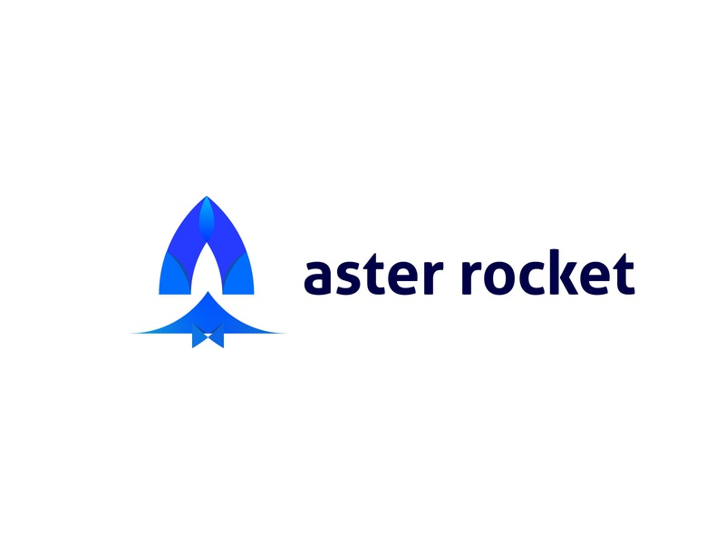 Aster Rocket logo app branding logomark a letter logo rocket logo branding design animation logos blue android app design company logo app ui illustration graphics logodesign brand identity branding