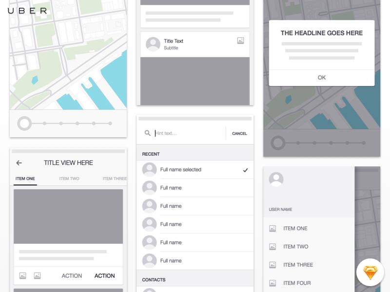 Uber ios wireframe kit   freebie