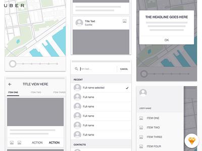 Uber iOS Wireframe Kit - Freebie ios ui ux mobile app uber wireframe ui kit