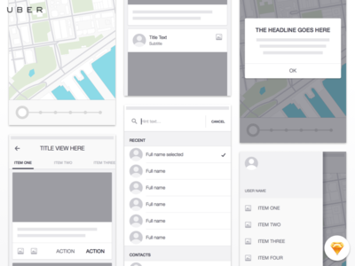 Uber iOS Wireframe Kit - Freebie