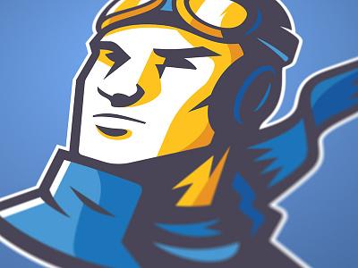 Pilot Logo Concept goggles man bomber pilot sports identity logo