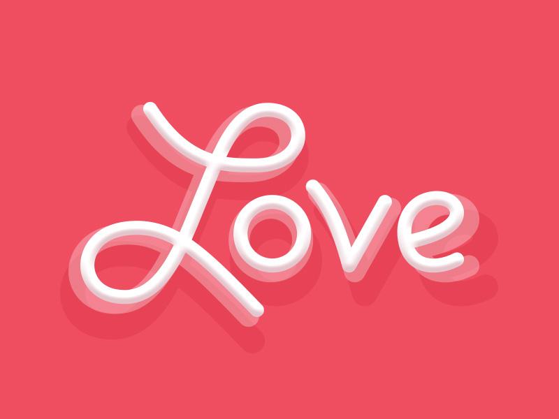 Love script typography text valentine script love