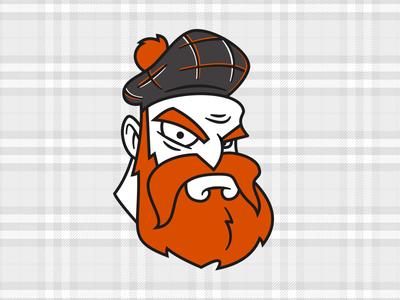 Angry Scott vector tartan mustache illustration man angry beard identity logo branding cartoon