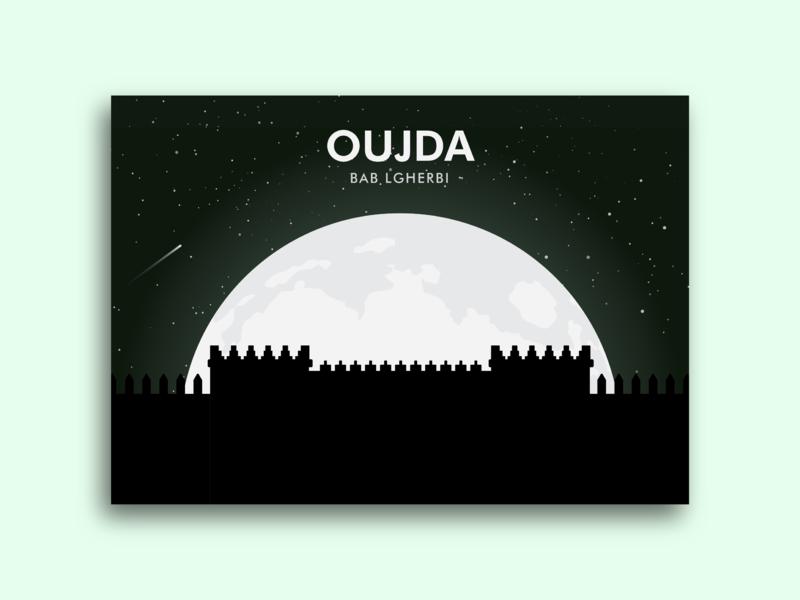 Illustration stars moon monument city oujda vector illustration