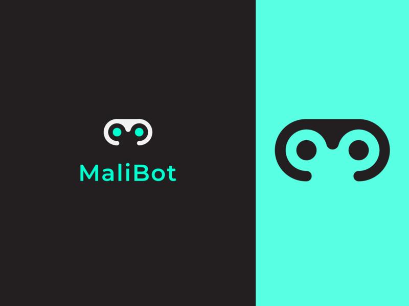Malibot Logo white icon minimal cyan black 2d logo branding malibu robot bot malibot
