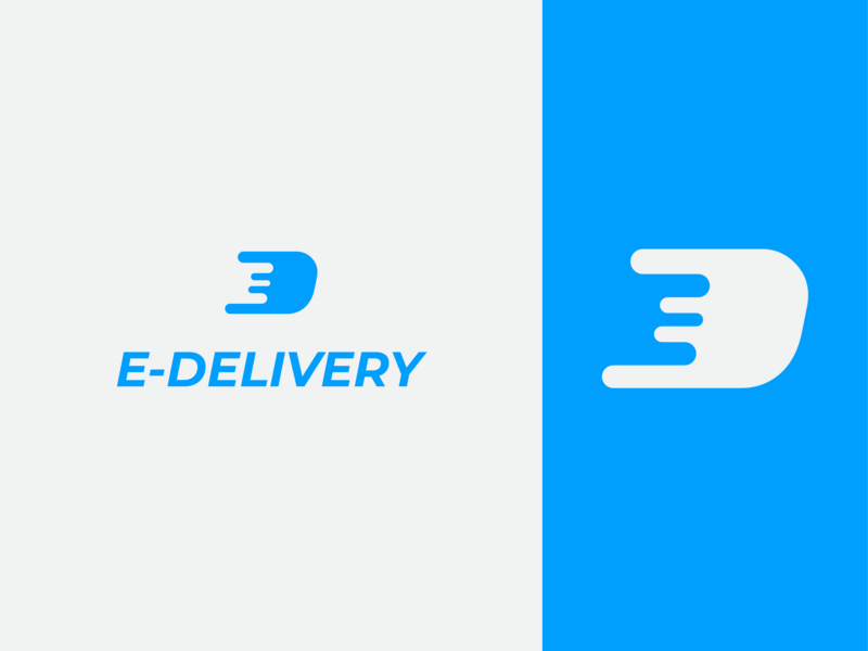 E-Delivery Logo ed d letter negative space negativespace fast digital blue 2d branding logo minimal delivery