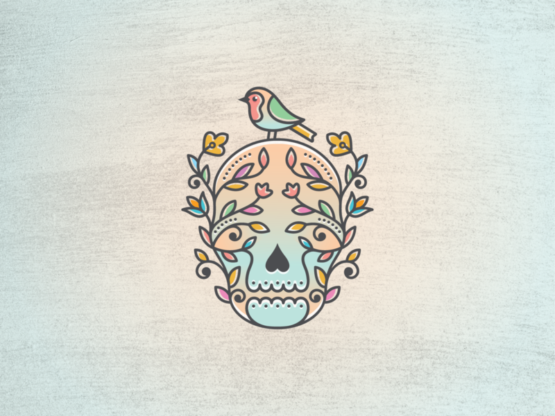 Floral Skull Logo vector logo adobe ilustrator decorative anatomic branches frame human face nature death tree branch bird skeleton floral skull