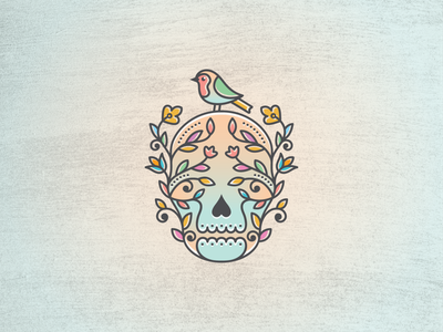 Floral Skull Logo vector logo adobe ilustrator decorative anatomic branches frame human face nature death tree branch bird skeleton floral skull