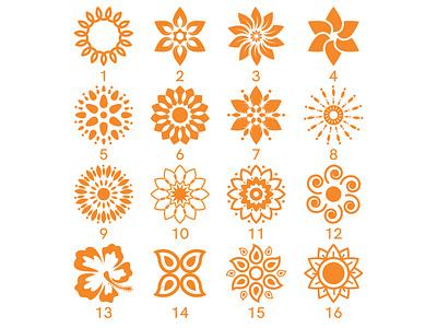 Floral logo designs vector art leaf circle orange flora shape flower crown flower logo flower art design vector illustrator