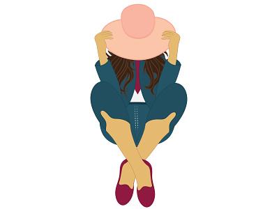 Lady in a Hat model shoe coat dress blue fashion hat lady vector design illustrator