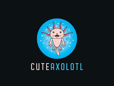 Cute Axolotl Logo happy fun mascot vector branding illustrator smiley cute bubble water ocean blue circle mexican sea logo walking fish axolotl