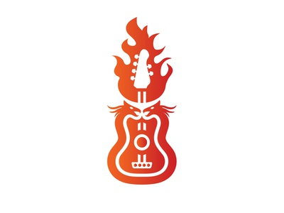 Dragon Music Logo logo-design branding vector illustrator rock and roll rock band gradient logo band studio fire media entertainment sound music dragon guitar