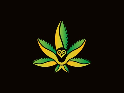 Cannabis Owl Logo medicare healing nature weed wings hemp leaves love bug ganja bird branding illustrator logo cafe edibles shop marijuana cannabis owl logo cannabis logo