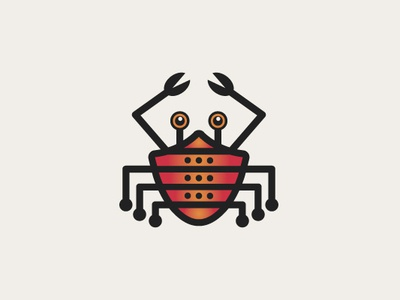 Security Crab Logo information technology network branding server protection secure monitoring alert animal vector illustrator robot web internet shield logo technology logo security logo crab