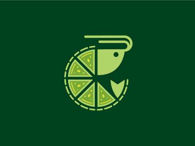 Lime Shrimp Logo organic green shapes slice circle branding logo-design vector logo illustrator lemon healthy dish food lobster prawn restaurant seafood lime shrimp