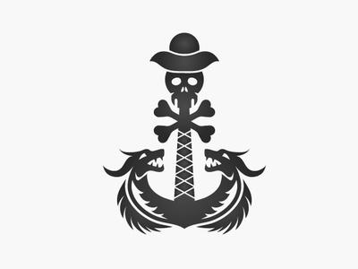 Death Anchor Logo head ship ocean hat logo-design illustrator skull and crossbones pirate skull death logo dragons anchor