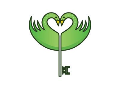 Swan Key Logo symbol real estate birds animal vector branding logo-design illustrator logo minimalist heart key love swan