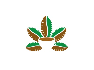 Cannabis Cafe Logo ganja hemp leaves bread cup medicine illustrator logo-design branding logo marijuana restaurant coffee bean coffee cafe weed cannabis