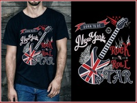 GUITAR Rock N Roll STAR T-Shirt Design