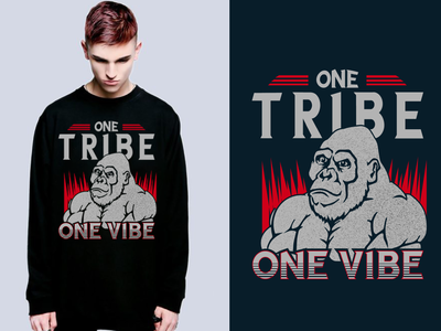 One Tribe One Vibe tshirt art and free psd mockup