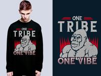 One Tribe One Vibe tshirt art and free psd mockup