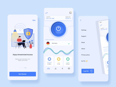 VPN App UI design security app servise vpn app illustration dailyui appdesign app design ux ui
