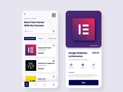 App Design Concept for online learning platform home screen dashboad learning app app design appdesign app design ux ui