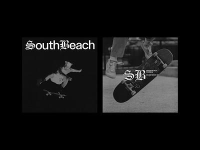SouthBeach Skate logo layout concept design typography type branding brand blackletter print skateboard skate beach southbeach south