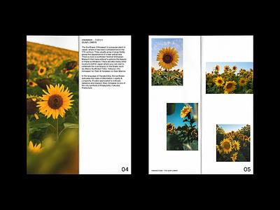Hanakotoba - The Sunflower 2/2 layoutdesign white space print layout typography concept design japanese art sunflowers sunflower magazine zine editorial editorial design