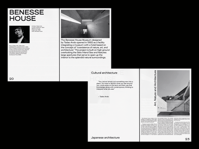 Benesse House Museum brutalist brutalism photography zine whitespace type editorial print layout typography design spread tadao ando architect architecture