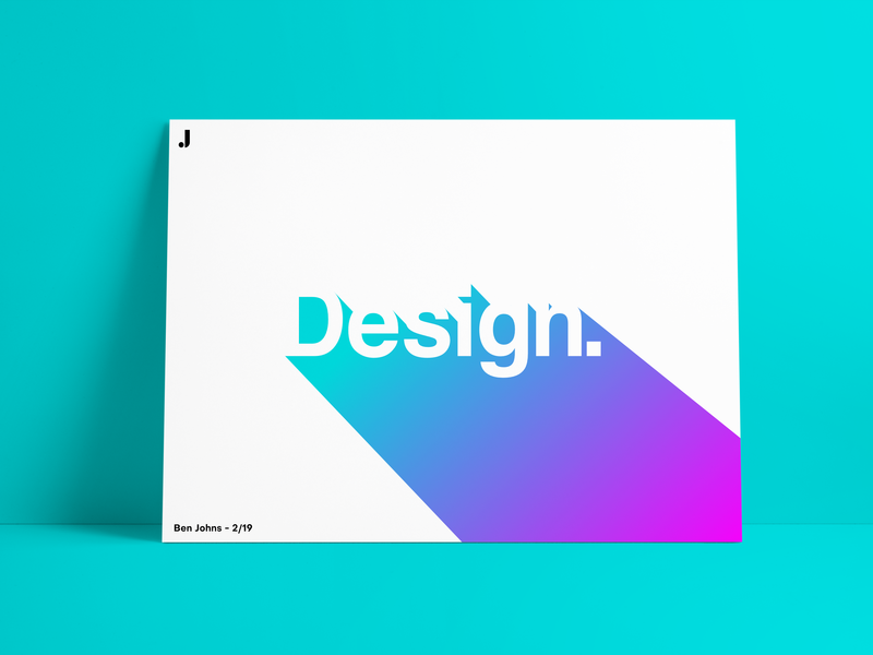 """Design."" - Poster graphicburger mockup frame message blue helvetica font poster art gradient negative space design poster"