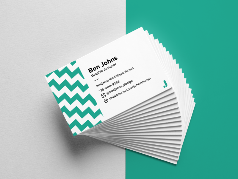 Business Card design marketing cards personal brand turquoise custom print business card